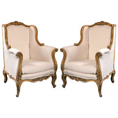 Pair of Vintage French Rococo Style Wingback Bergere Chairs