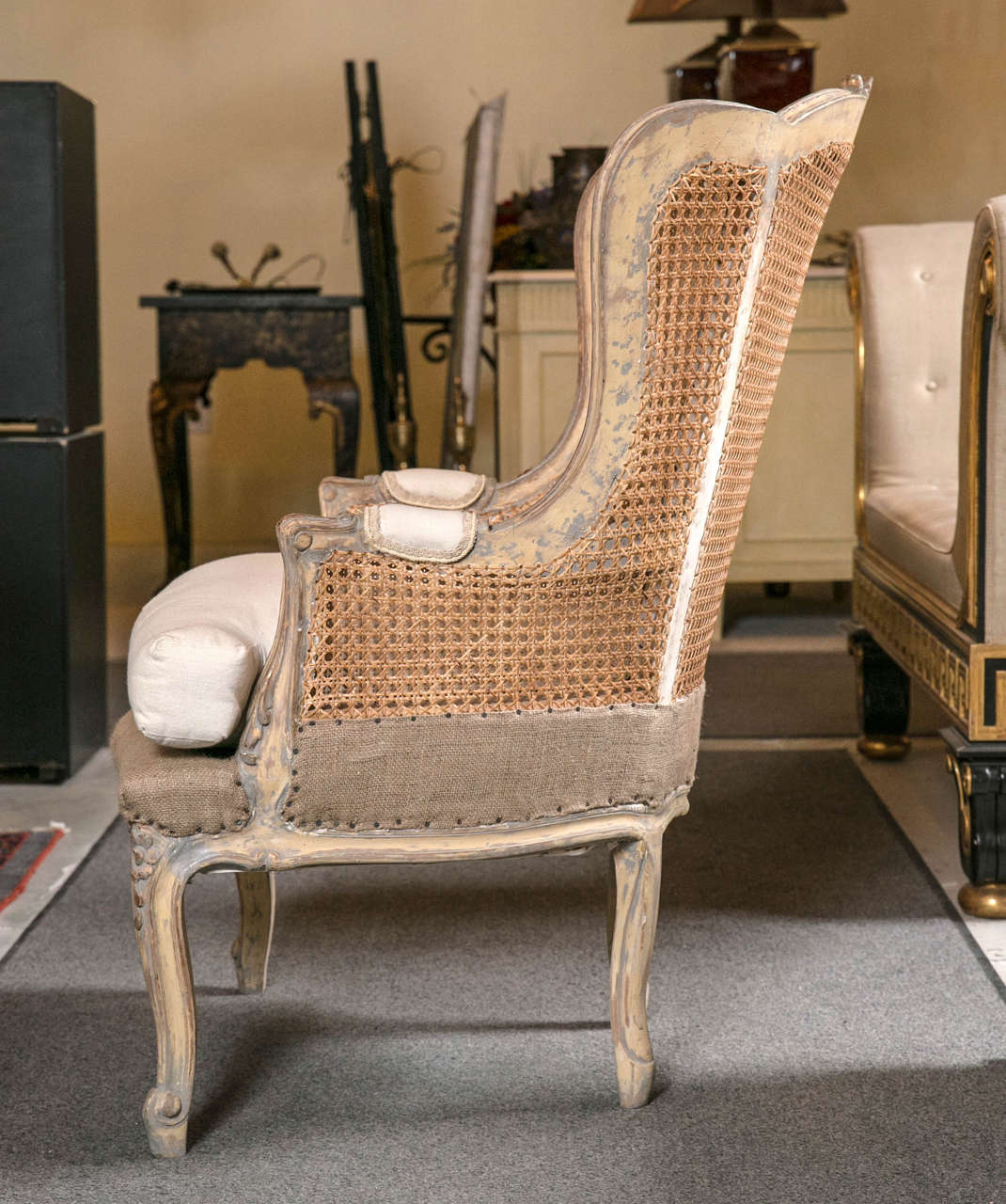 Pair Of French Louis Xv Style Wingback Caned Berg 232 Re