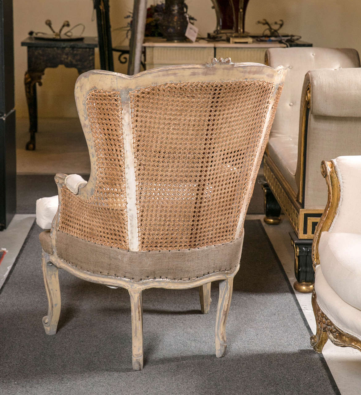 Pair of French Louis XV Style Wingback Caned Bergère Chairs For Sale 1
