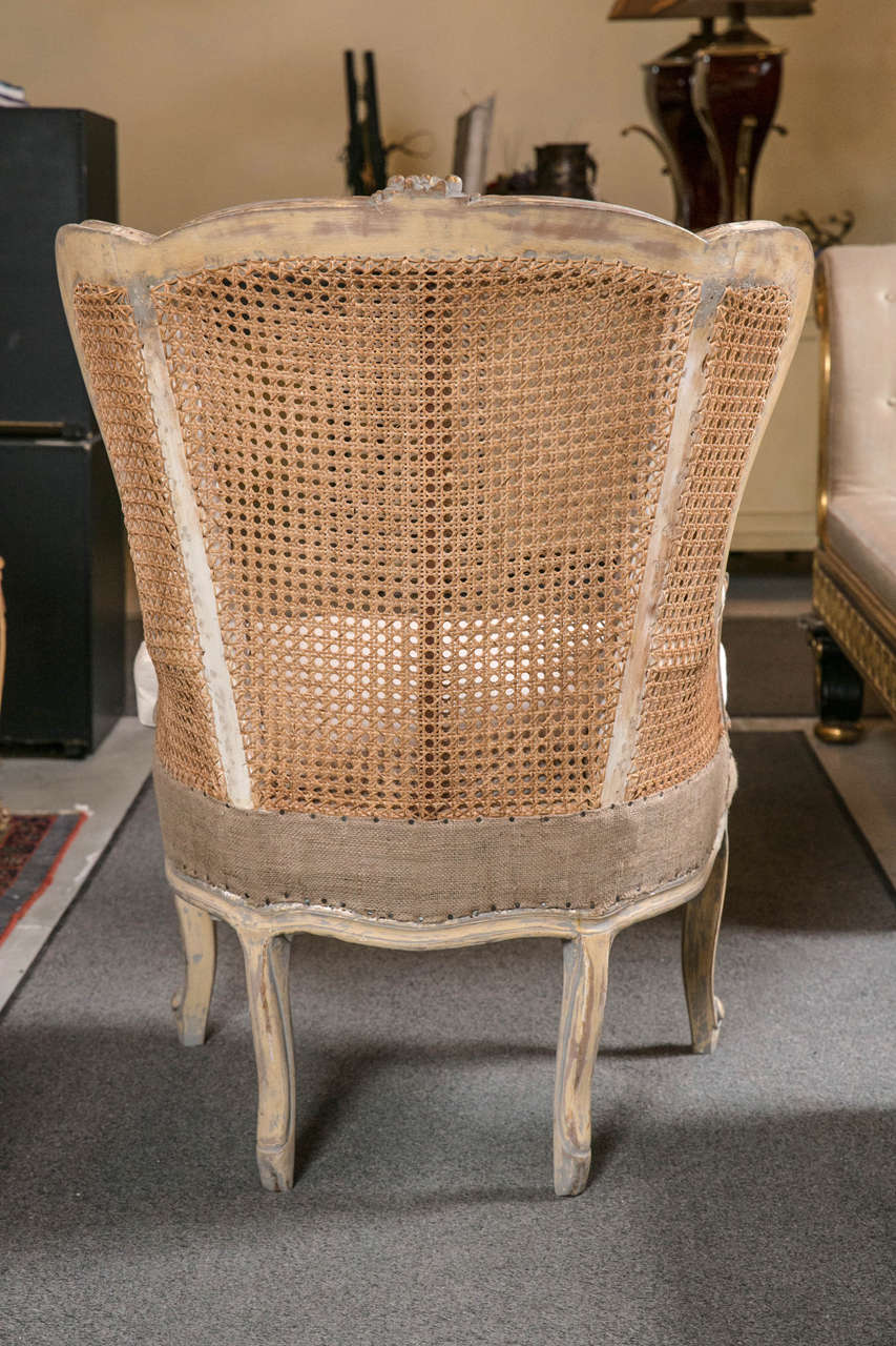 Pair of French Louis XV Style Wingback Caned Bergère Chairs For Sale 2