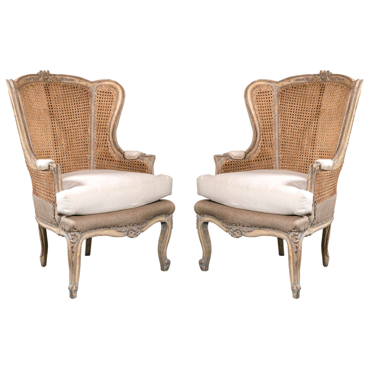 Pair of French Louis XV Style Wingback Caned Bergère Chairs For Sale
