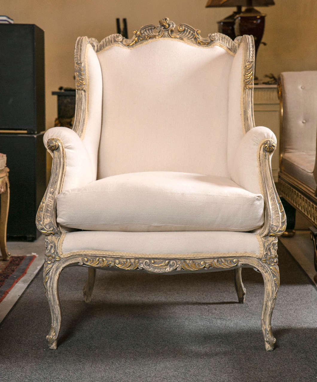 Bergere chair french rococo - Pair Of French Rococo Style Wingback Berg Re Chairs 2