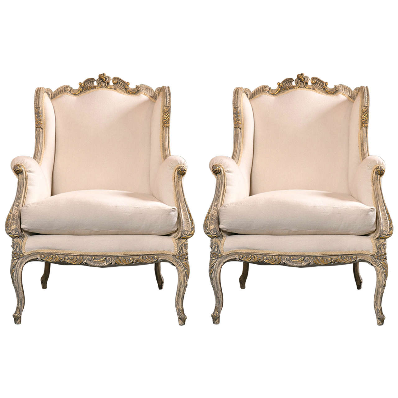 Pair of french rococo style wingback berg re chairs at 1stdibs for French rococo style