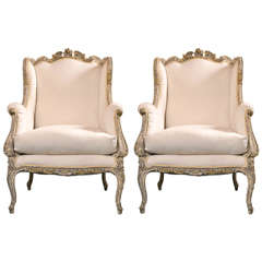 Pair of French Rococo Style Wingback Bergère Chairs