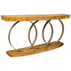 Art Deco Style Console Table Mid Century Modern Heavy Three Chrome Loops