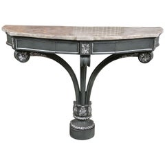 Hollywood Regency Demilune Marble-Top Console Table