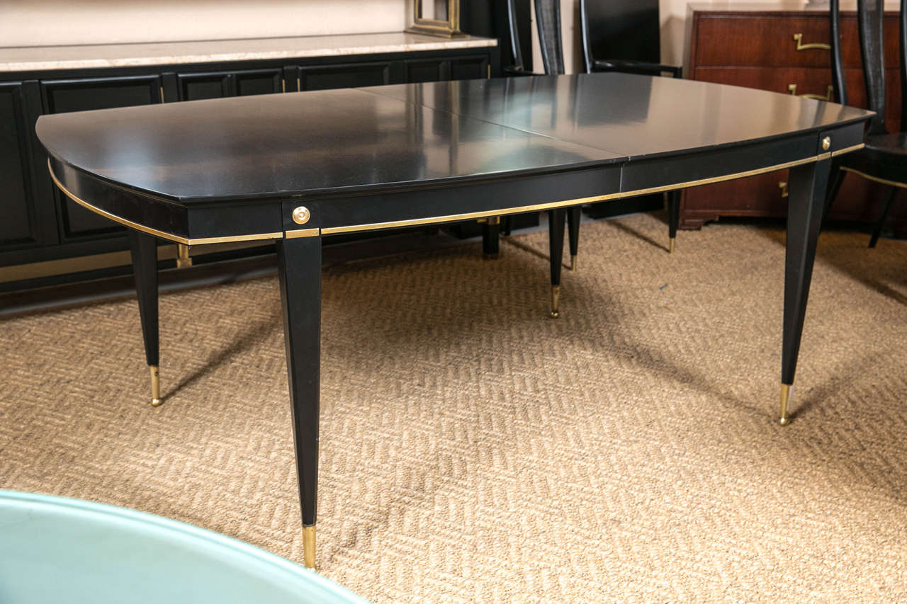 Hollywood Regency Ebonized Dining Table Set in the Manner of