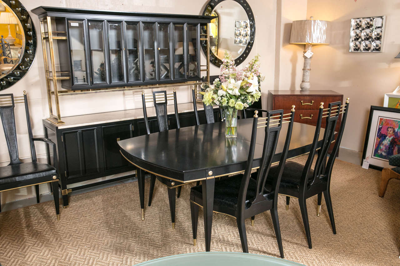 Hollywood Regency Ebonized Dining Table Set In The Manner Of Jansen At