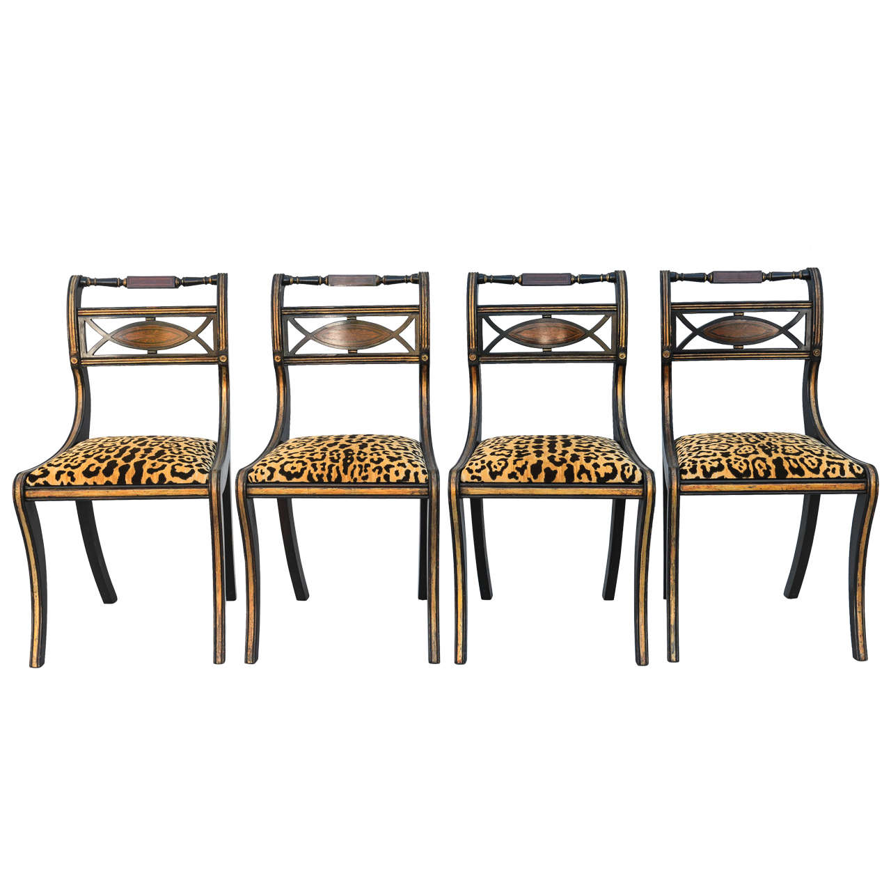 Set Of Four Regency Style Chairs At 1stdibs