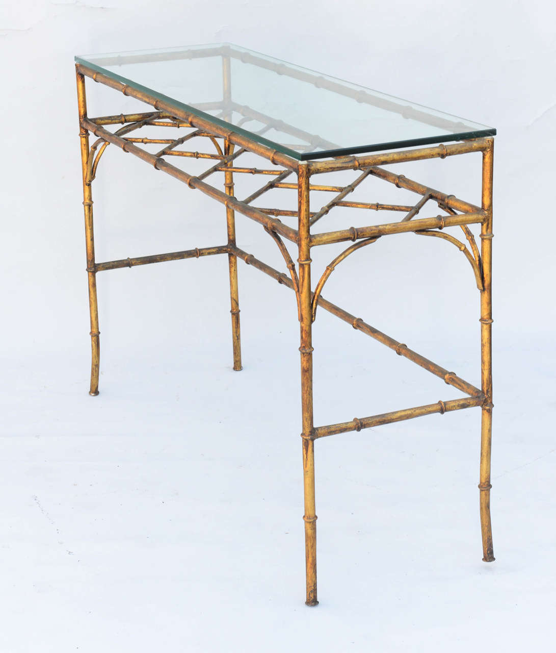 Italian Gold Gilt Iron And Glass Faux Bamboo Metal Square: Gilded Iron Faux-Bamboo Console Table At 1stdibs