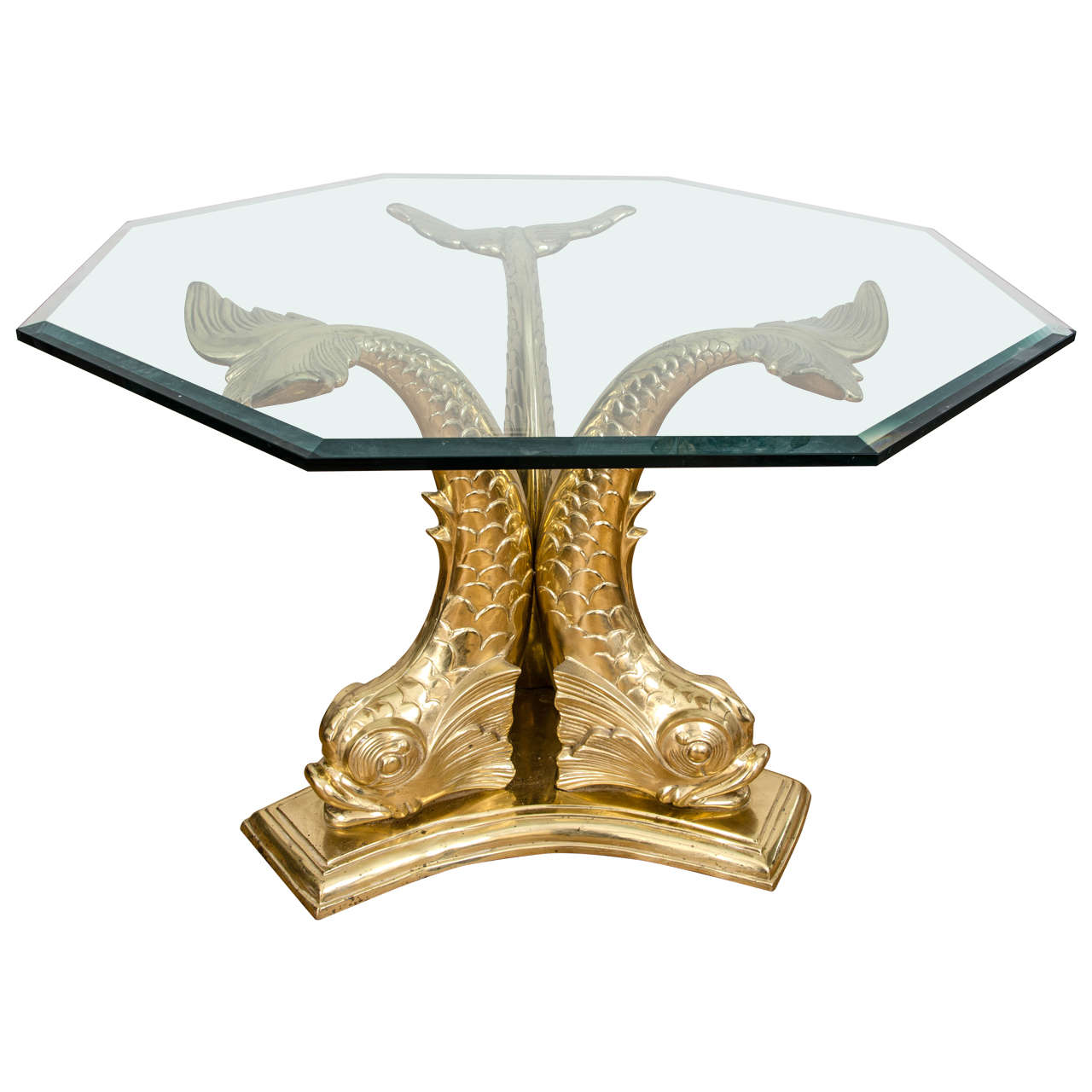 Cast Brass And Glass Dolphin Dining Table At 1stdibs