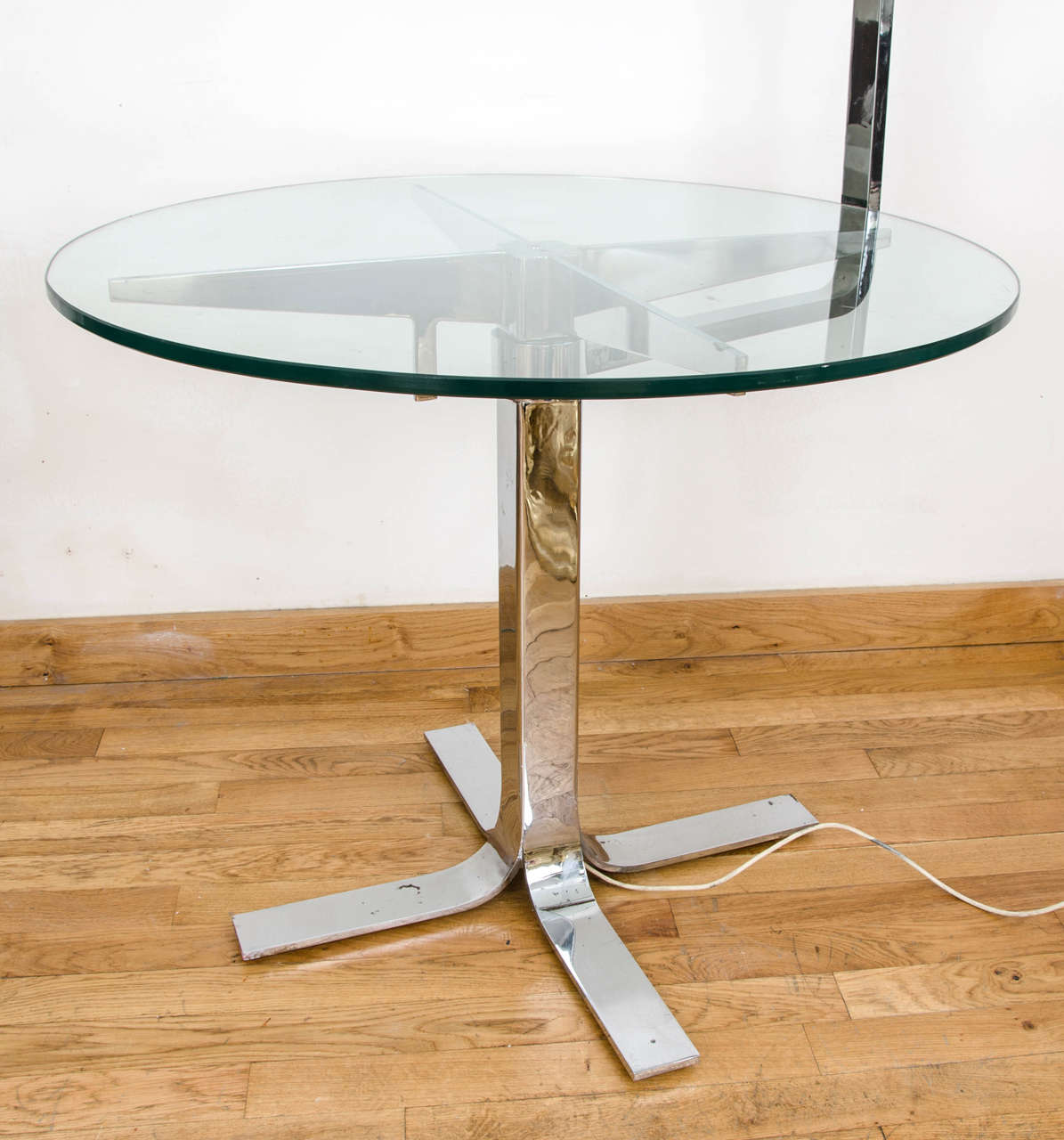 Chrome And Glass Table Incorporating Overhanging Lamp For