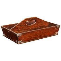 Late 19th Century Oak and Silver Mounted Cutlery Box
