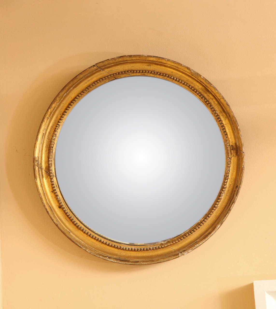 Late 19th Century English, Gilded Convex Mirror