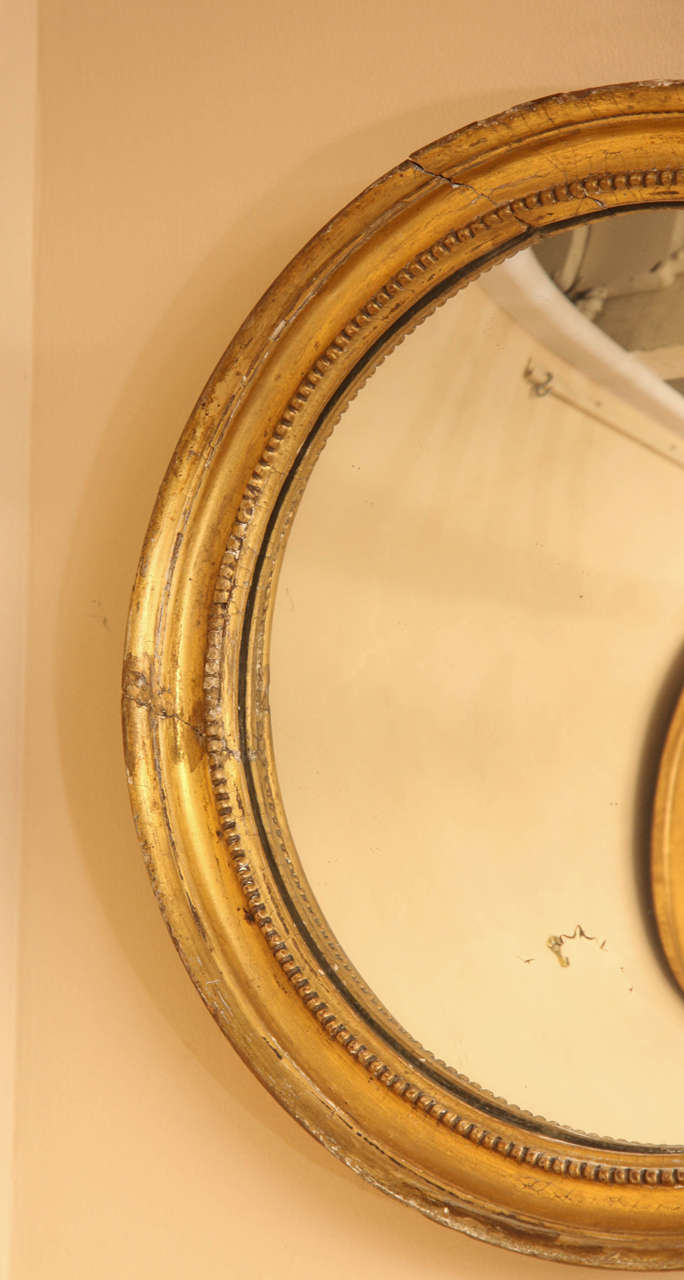 Giltwood Late 19th Century English Convex Mirror For Sale