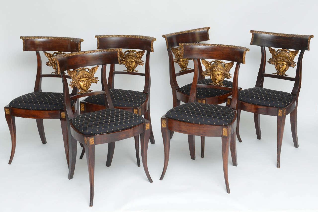 Set of Six Italian Neoclassical Klismos Medusa Head Side Chairs, circa 1810-1820 2