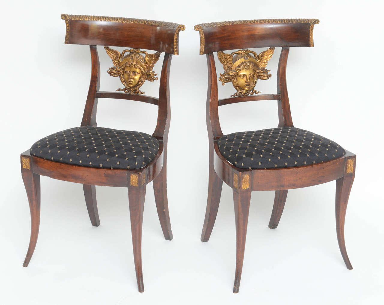 Set of Six Italian Neoclassical Klismos Medusa Head Side Chairs, circa 1810-1820 3