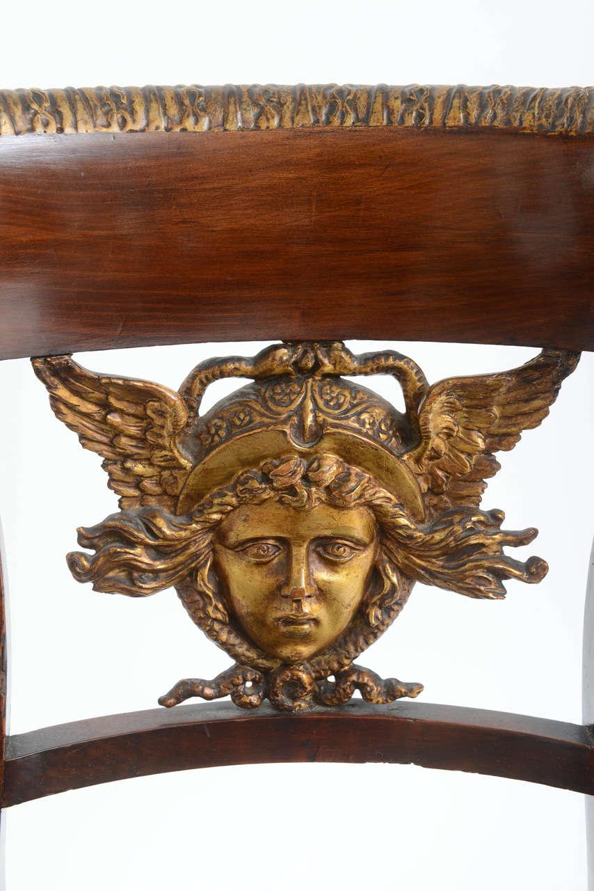 Set of Six Italian Neoclassical Klismos Medusa Head Side Chairs, circa 1810-1820 1