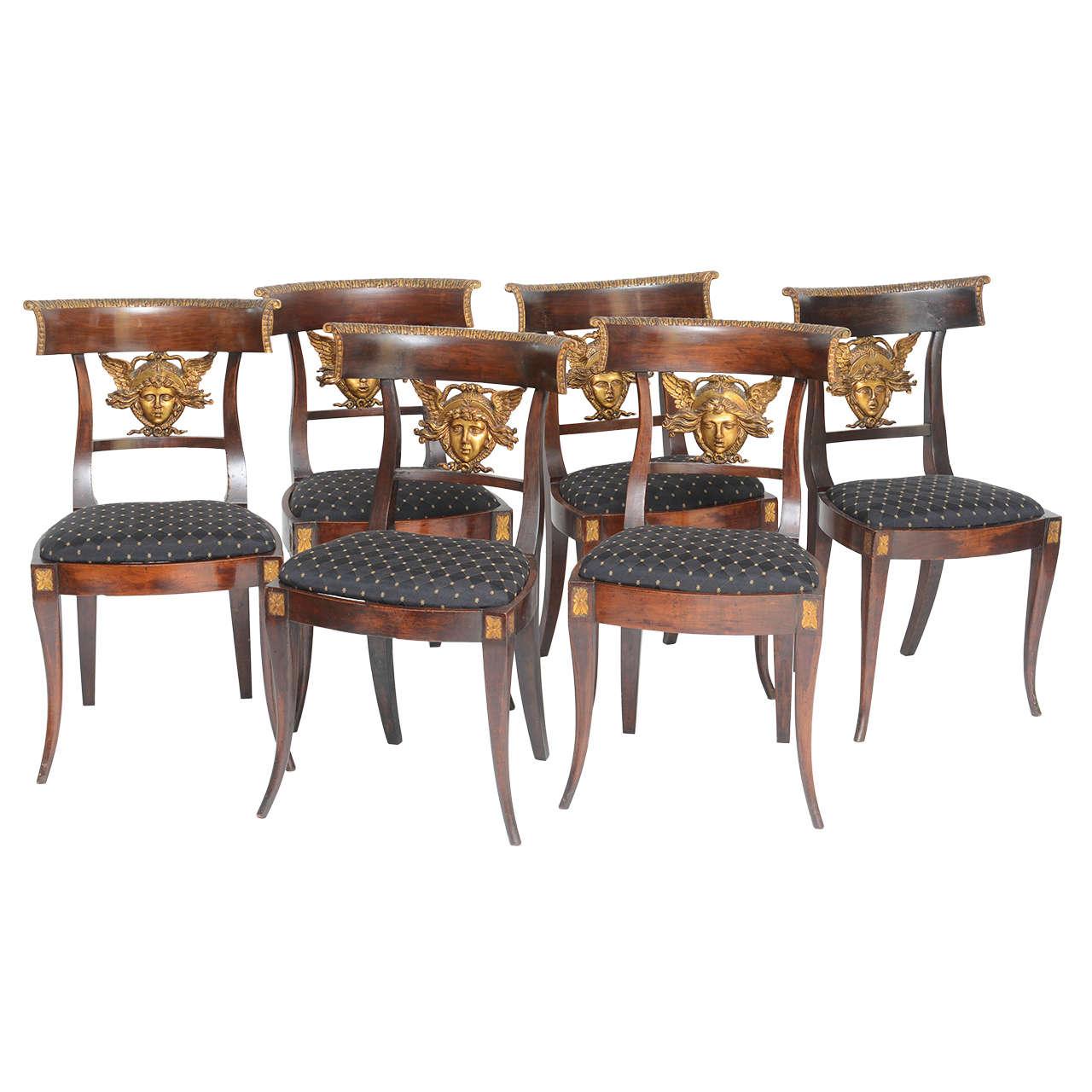 Set of Six Italian Neoclassical Klismos Medusa Head Side Chairs, circa 1810-1820