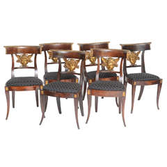 Set of Six Italian Neoclassical Klismos Medusa Head Side Chairs, circa 1810-1820