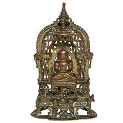 15th Century Bronze Jain Silver-Inlaid Altarpiece, Northwest India