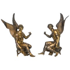 Pair of French Gilt Bronze Depictions of the Goddess Nike, circa 1810
