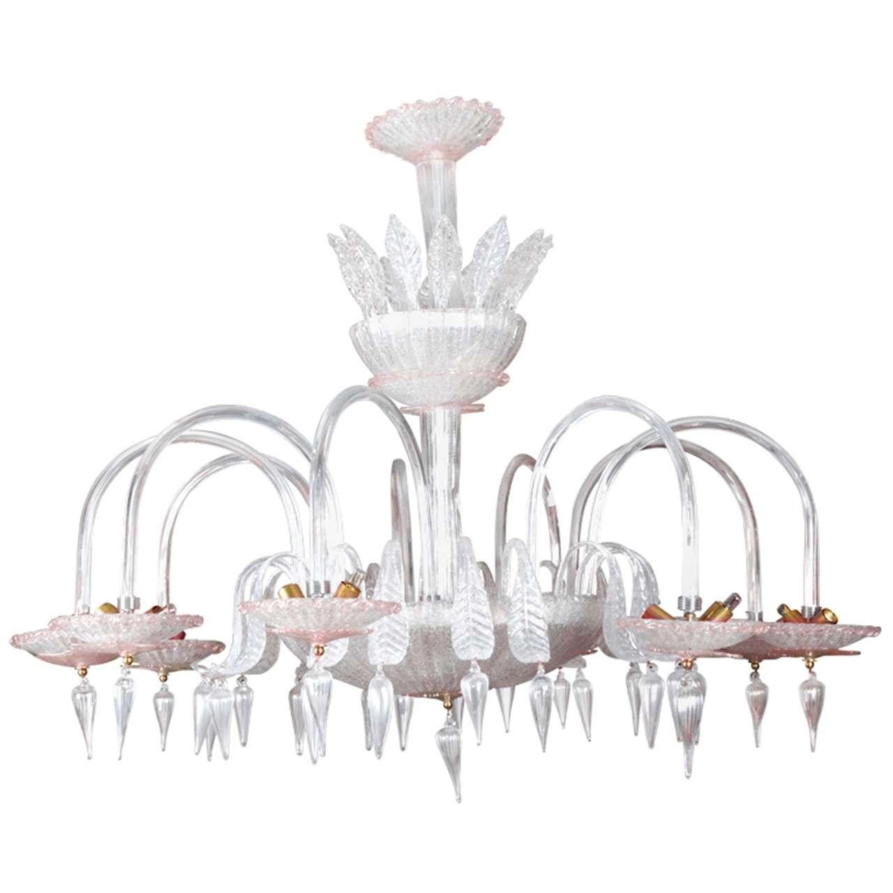 Beautiful Pair Of Murano Glass Chandeliers