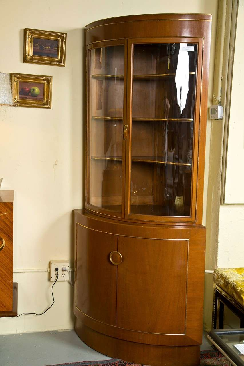 A Fine Custom Quality Corner Cabinet By Grosfeld House. The Reverse Bearing  The Grosfeld House