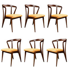 Six Bertha Schaefer Chairs in Gio Ponti Fabric