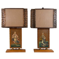 A Mid Century Pair of Enameled & Copper Table Lamps by Albert Gilles