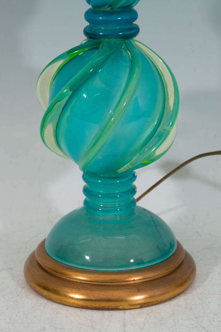 of aqua colored murano glass table lamps by marbro lamp co at 1stdibs. Black Bedroom Furniture Sets. Home Design Ideas