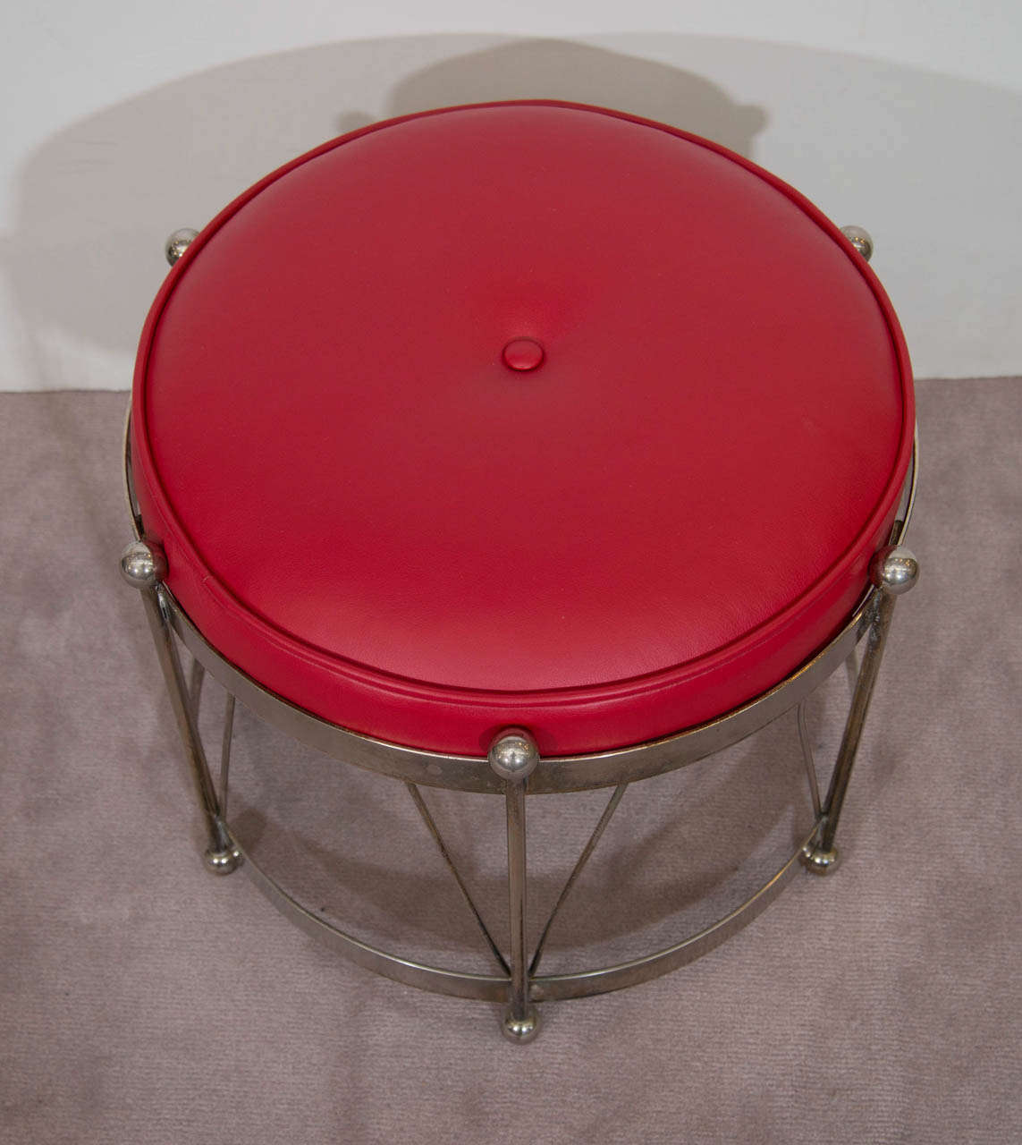 A Mid Century Chrome Drum Bench With Red Leather Upholstery At 1stdibs
