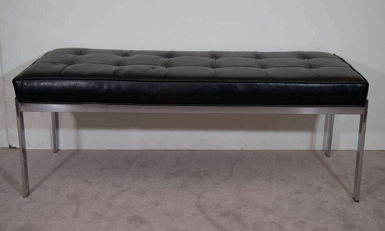 a mid century black leather and chrome selig bench . a mid century black leather and chrome selig bench at stdibs