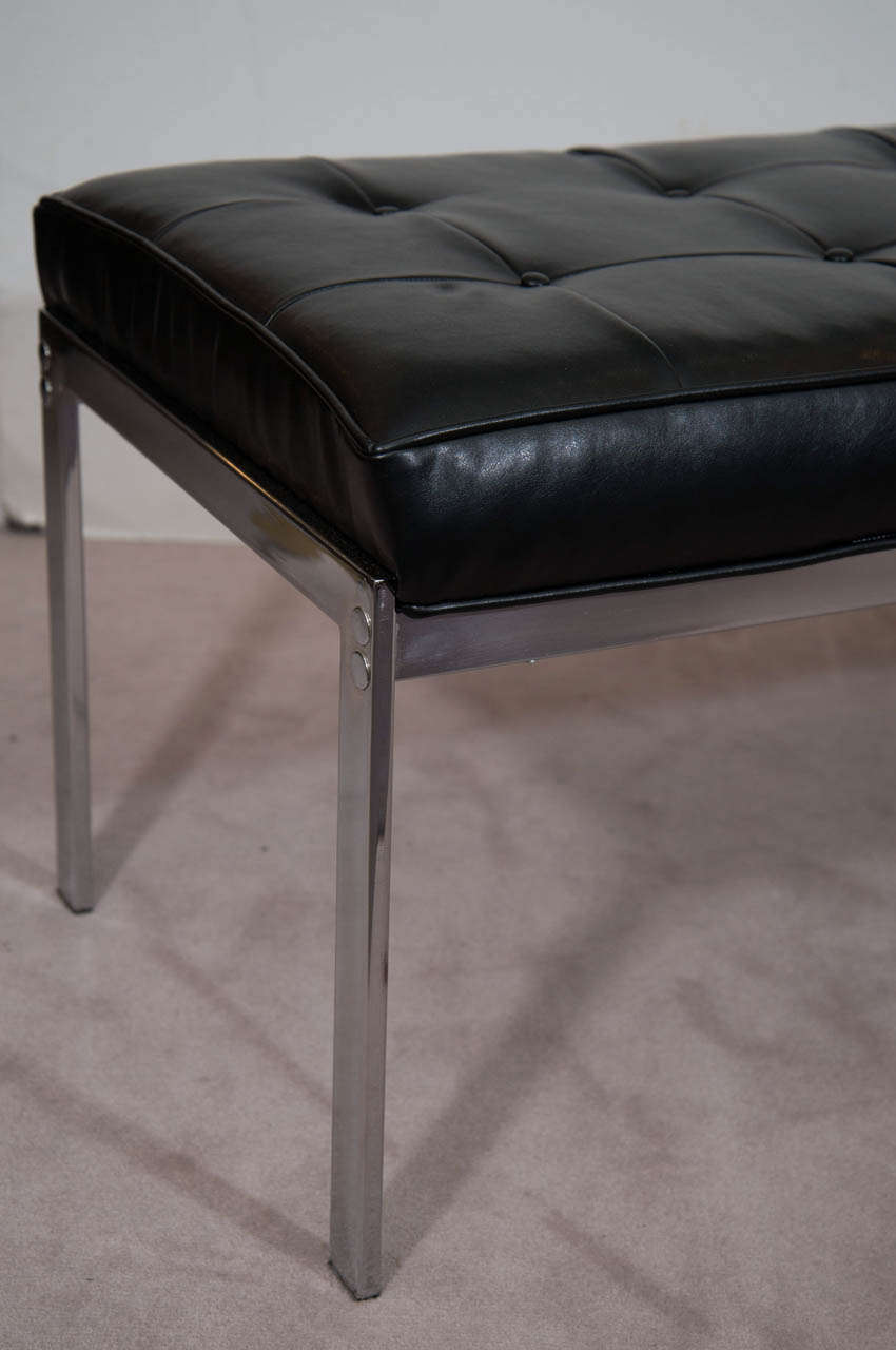 Mid Century Modern A Black Leather And Chrome Selig Bench For