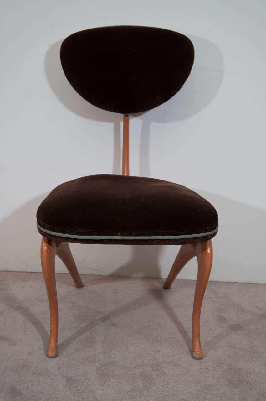 Pair Of Jordan Mozer Heavy Aluminum And Velvet Chairs For