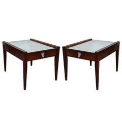 Mid Century Pair of End Tables or Night Stands in Wood w/Mirrored Tops