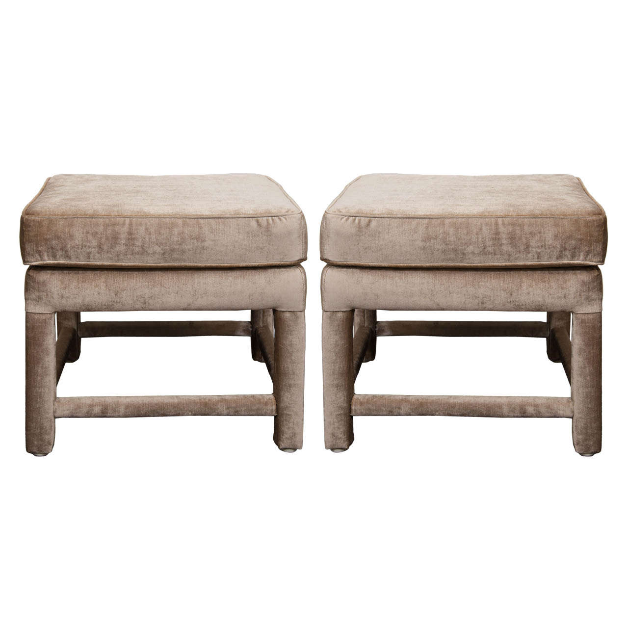 a mid century pair of champagne velvet upholstered benches at stdibs - a mid century pair of champagne velvet upholstered benches