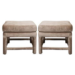 A Mid Century Pair of Champagne Velvet Upholstered Benches