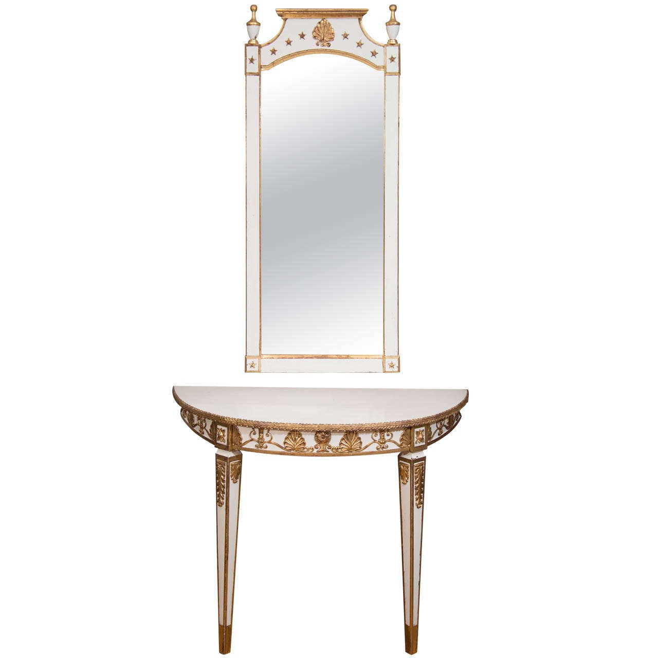 french louis xvi style demi lune table and wall mirror for. Black Bedroom Furniture Sets. Home Design Ideas