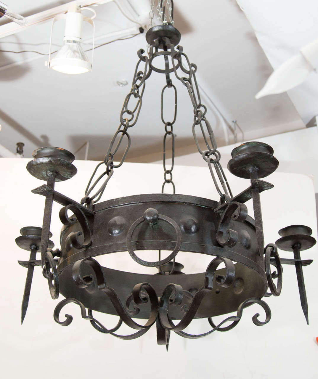Antique Five-Light Iron Candelabra 2