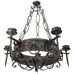 Antique Five-Light Iron Candelabra