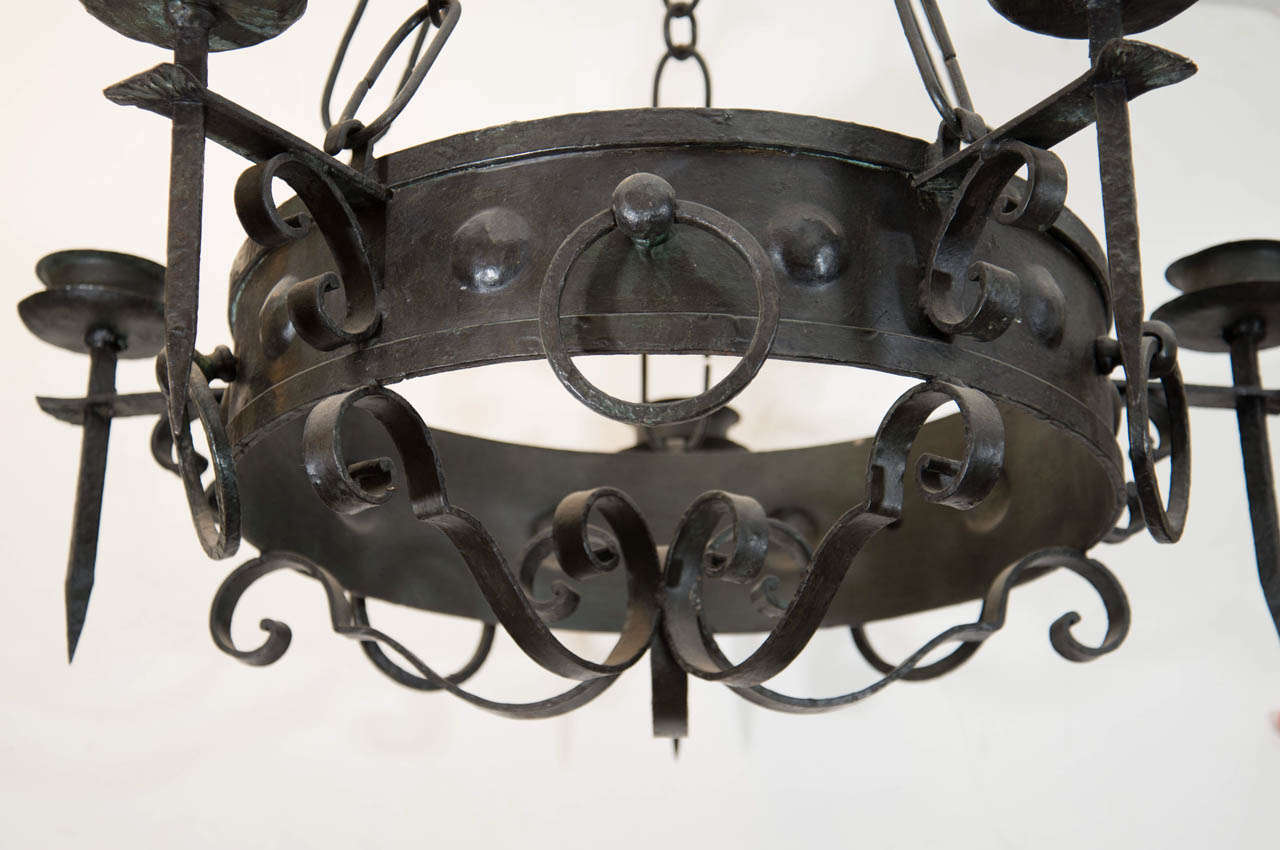 Antique Five-Light Iron Candelabra 3