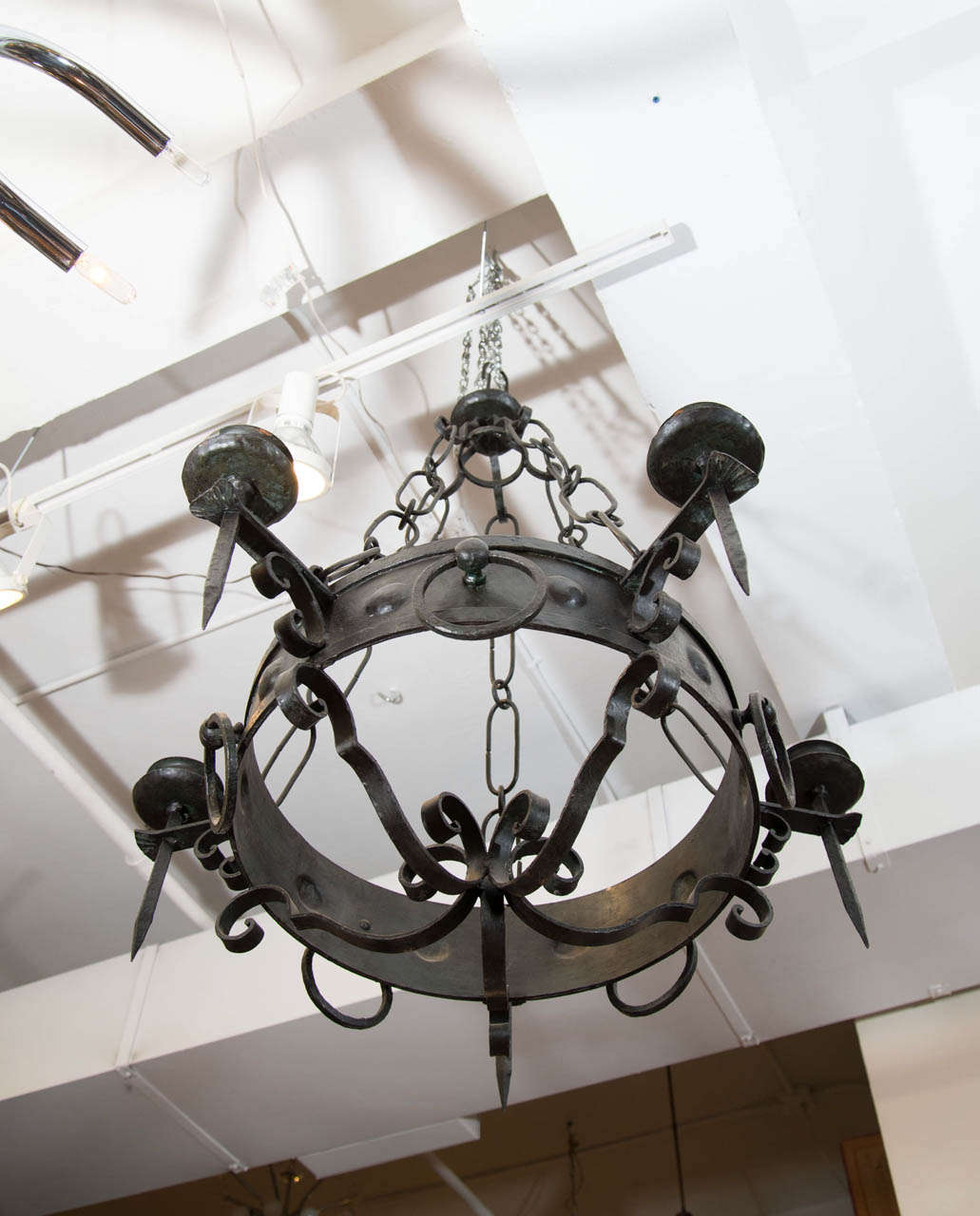 Antique Five-Light Iron Candelabra 5