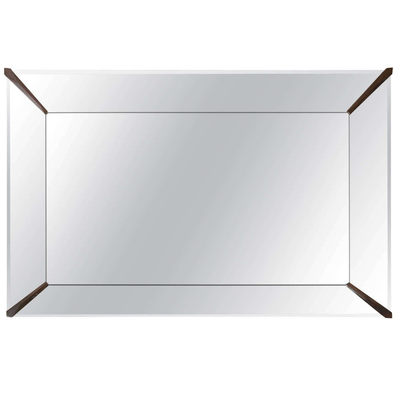 a mid century rectangular mirror with mirrored frame brass detail 1
