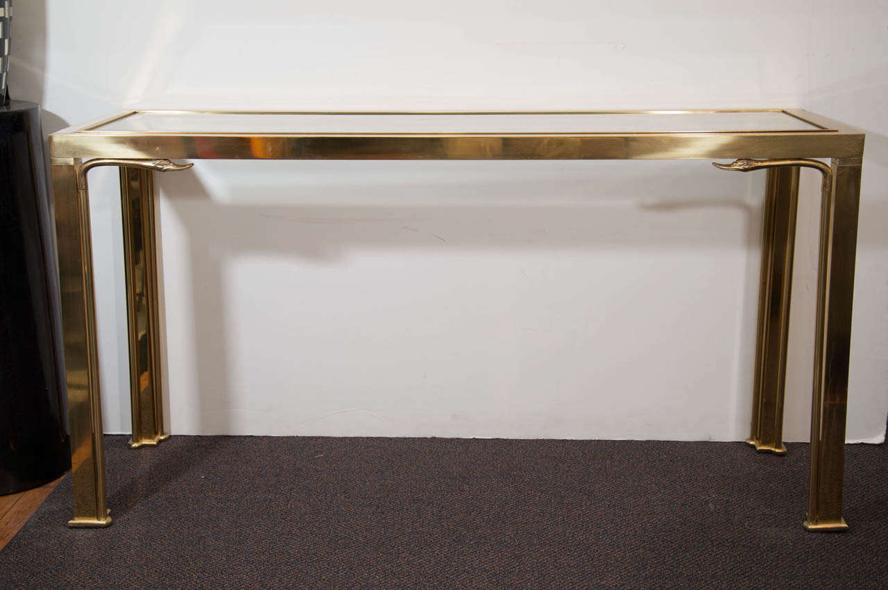 A Mid Century Brass and Glass Console Table with Swan Motif at 1stdibs