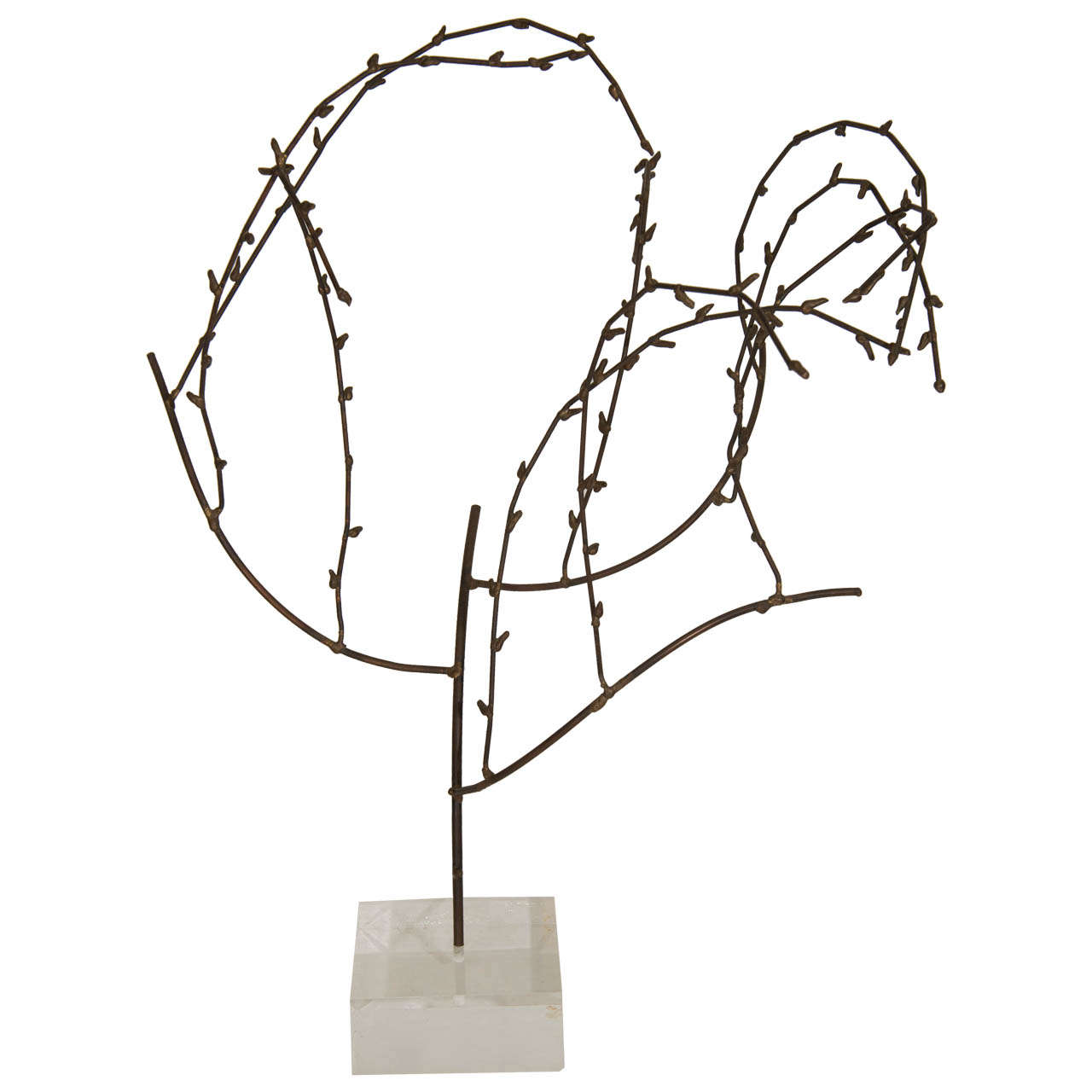 Brutalist Willow Sculpture on Lucite Base