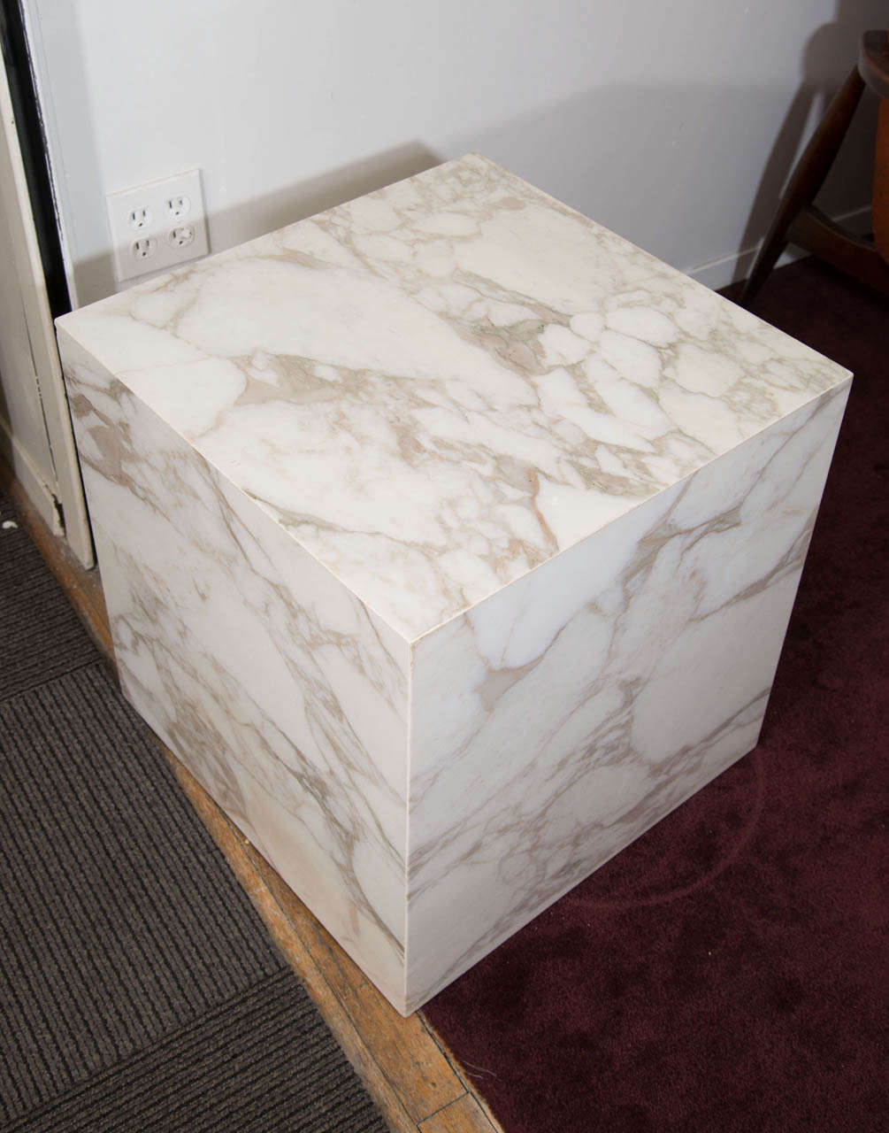 A Mid Century Pair Of Cube Form Solid Marble Slab End Or