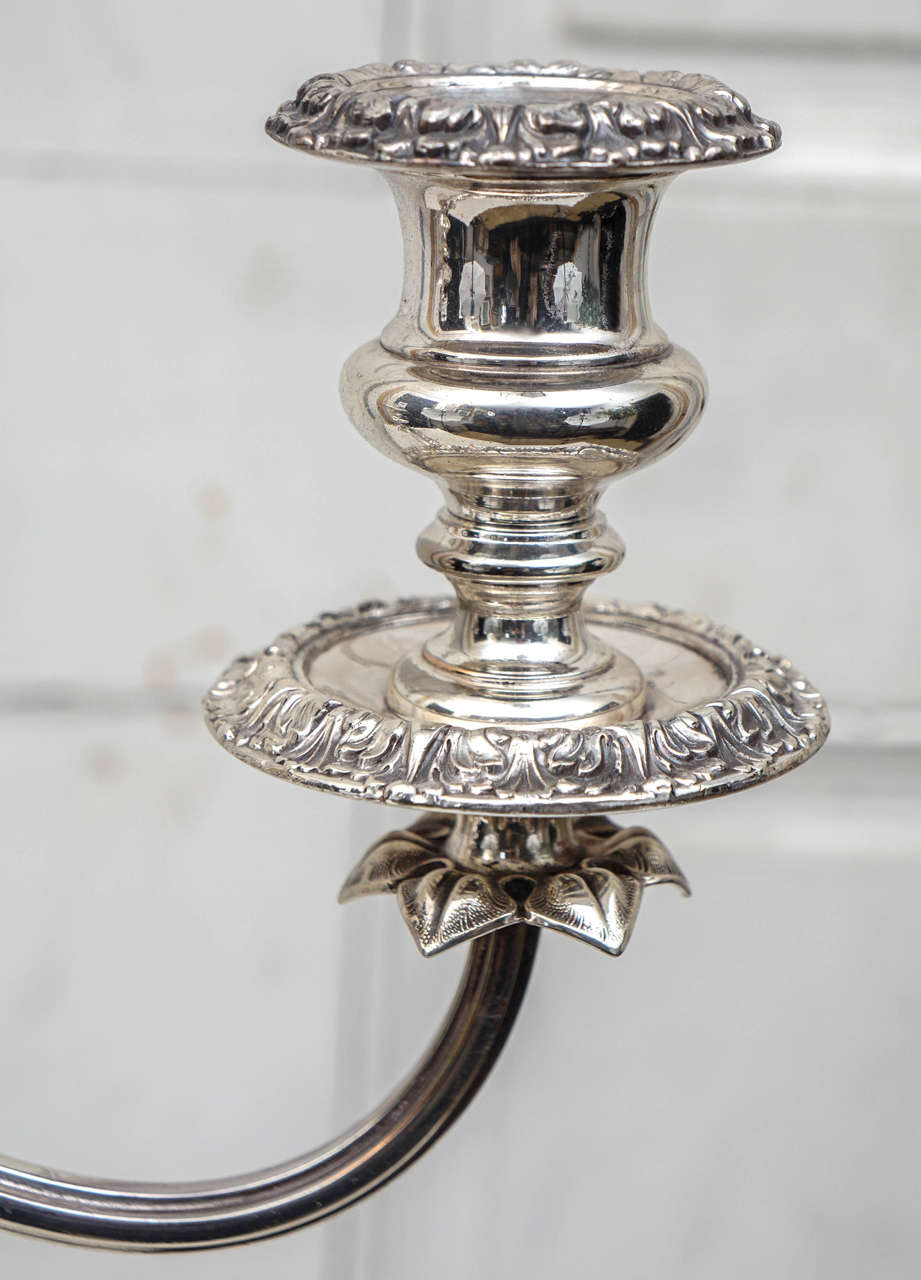 English 19th Century Silver Plated Three-Light Candelabrum In Good Condition For Sale In Hudson, NY