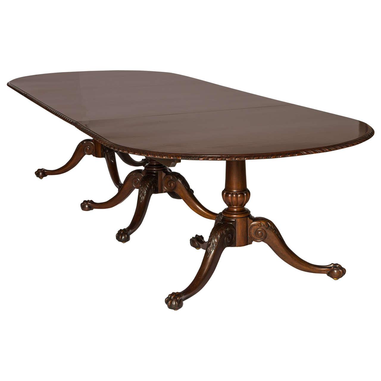 Edwardian mahogany triple pedestal dining table by maple for Pedestal dining table