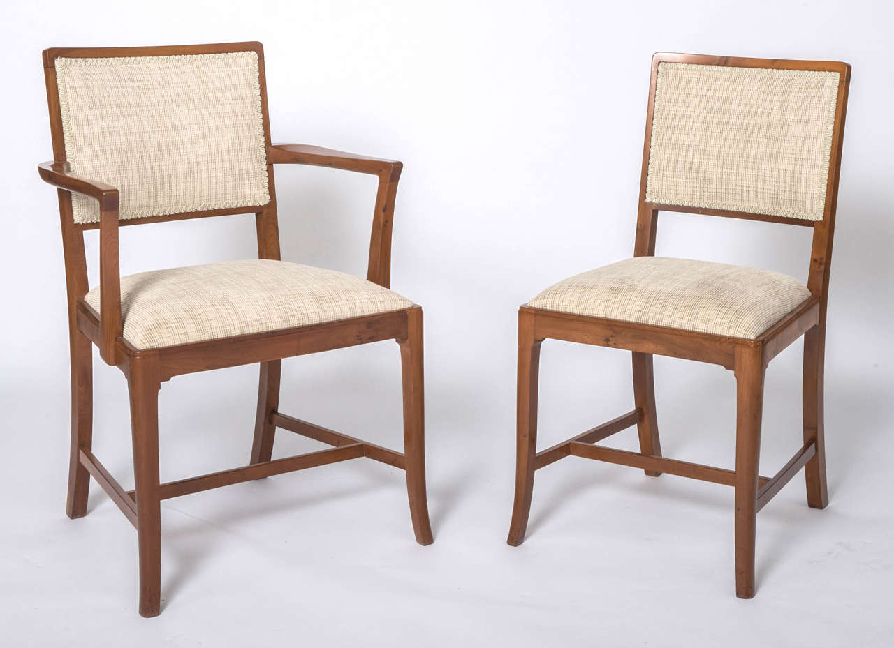 yew dining room furniture | A set of eight Yew Dining chairs by Heal and Sons of ...